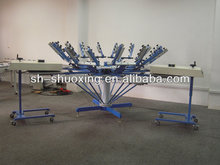 Manual screen printing carousel with micro registration