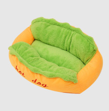 Cheap plush soft stuffed hot dog design pet bed memory foam funny dog bed