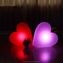 Wedding led decoration heart shaped lighting led waterproof plastic battery led heart for events