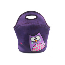 2017 new product neoprene cartoon purple lunch bag for teenager girls & boys