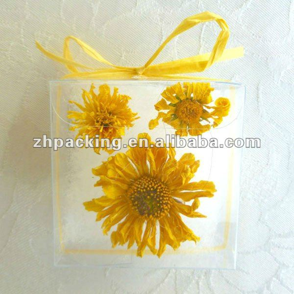 yellow wedding favors clear boxes of Dried flowers