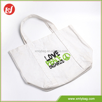 Reusable solid handbag high quality white shopping cavans cloth bag