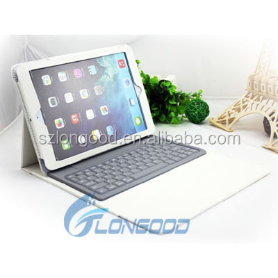 High quality luxury leather tablet case with wireless blutooth keyboard for ipad