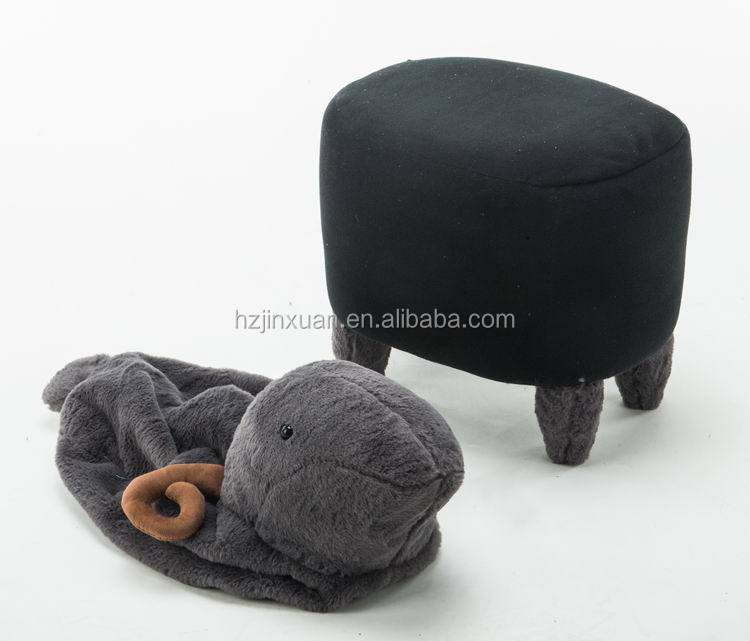 JX1403 US market hot selling black and white small funky animal sheep ottoman stool oem produce fast ship oem produce