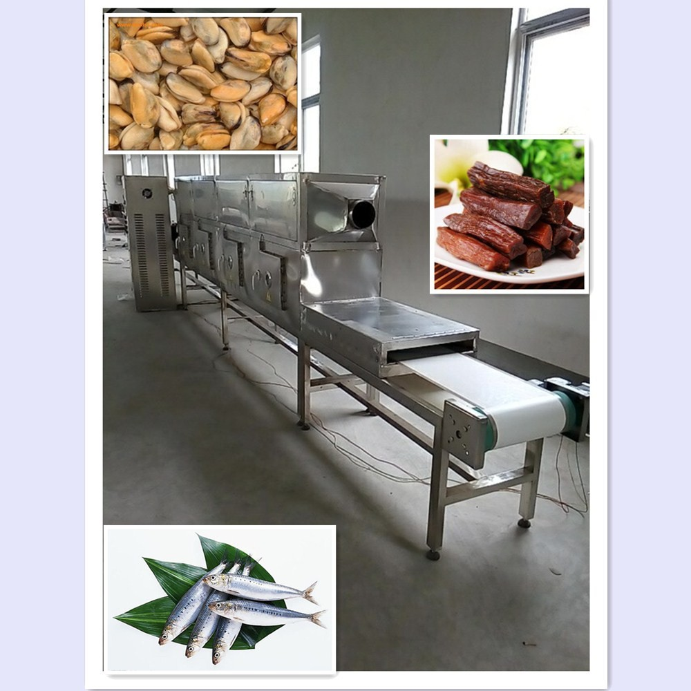 modern microwave continuous mussel meat/beef/fish drying machine/sterilization