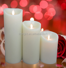battery operated flameless moving wick led candle with remote control in color printed box packing