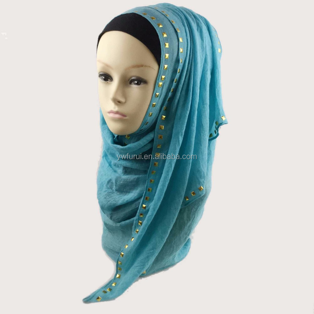 2017 Muslim Cotton Rivet Hijab Scarf Pure Color Large Size Studs Shawls Scarves