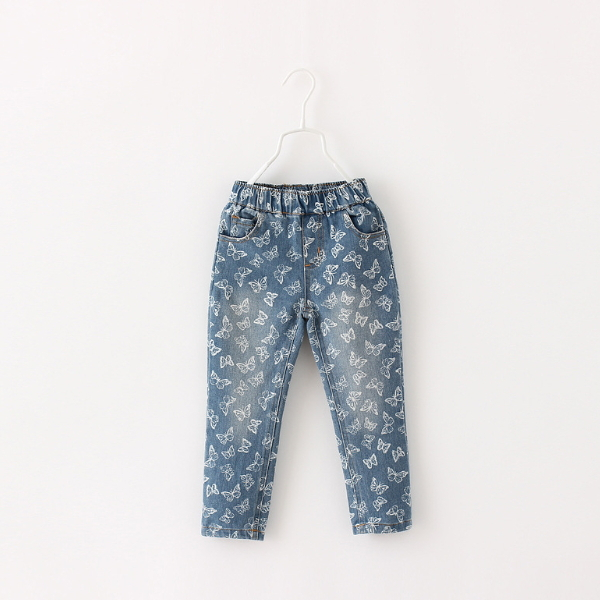 MS64436C 2015 kids butterfly printing children elastic jean