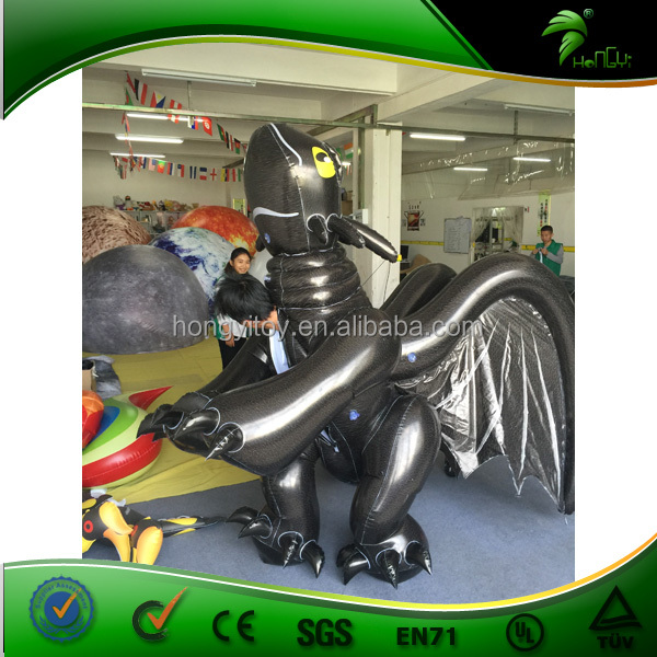 3.8m High Giant Inflatable Cartoon Costume / Best Quality Double Layer Inflatable Toothless Black Dragon Costume / Suit