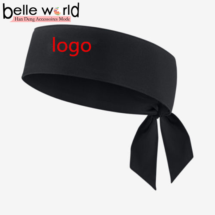 New Head Tie Tennis Running Basketball Black Headband For Unisex