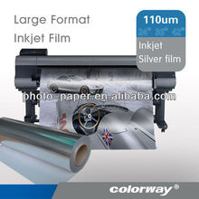 Silver Color Metallic PET Film with Adhesive Paper Backing (print photo on silver paper, inkjet clear film for screen printing)