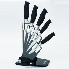 BH17-1 Acrylic block stainless steel 6pcs kitchen knife set