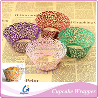 Wholesale Cheap Wedding Decoration Laser Cut Hollow Out Flower Cupcake Wrapper