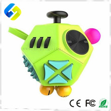 New Design anti-stress ABS Plastic Magic cube 12 side Fidget cube