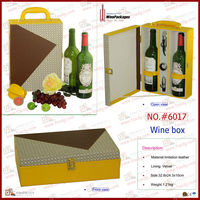 Wood box covered PU for wine package two bottles