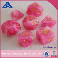 Pink Polyhedral Custom Engarved Resin Marble Dice with Gold color number