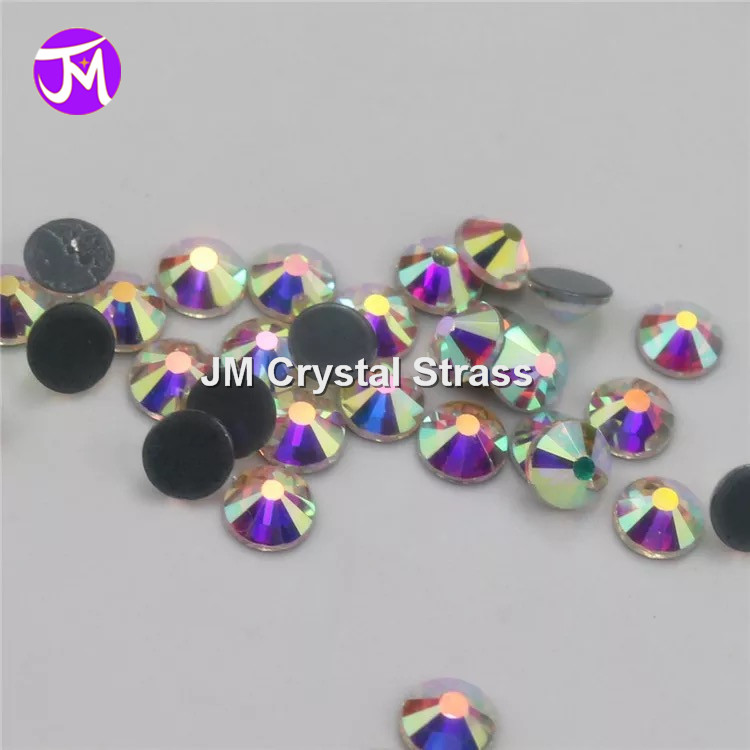 enhanced quality grade crystal AB 7a rhinestones iron on hotfix strass