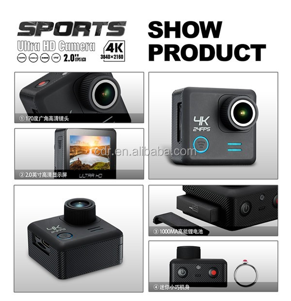 Trade Assurance Action Camera 4K Wifi Sports Camera 2-inch Screen 4K (3840*2160) 24FPS YM-DVM20