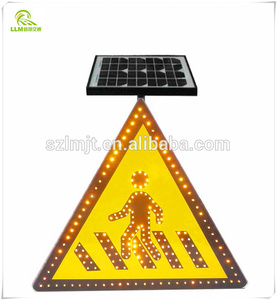 High luminous LED customized solar powered pedestrian traffic warning sign