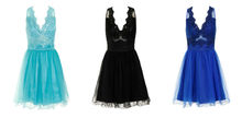 MESH LACE EMBROIDERED APPLIQUE SKATER PROM DRESS