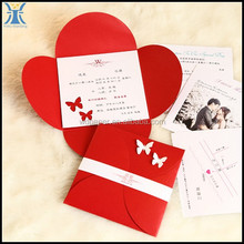 2017 Yiwu Latest Fancy High Quality Red Folding Flower Shape Cheap Butterfly 3D Wedding Invitations Cards Design With Ribbon