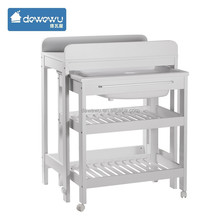 high quality white baby changing table with bath tub with wheels