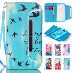 Detachable PU Leather Wallet Design Phone Case Cartoon Printing Leather Case For GALAXY S4 Mini