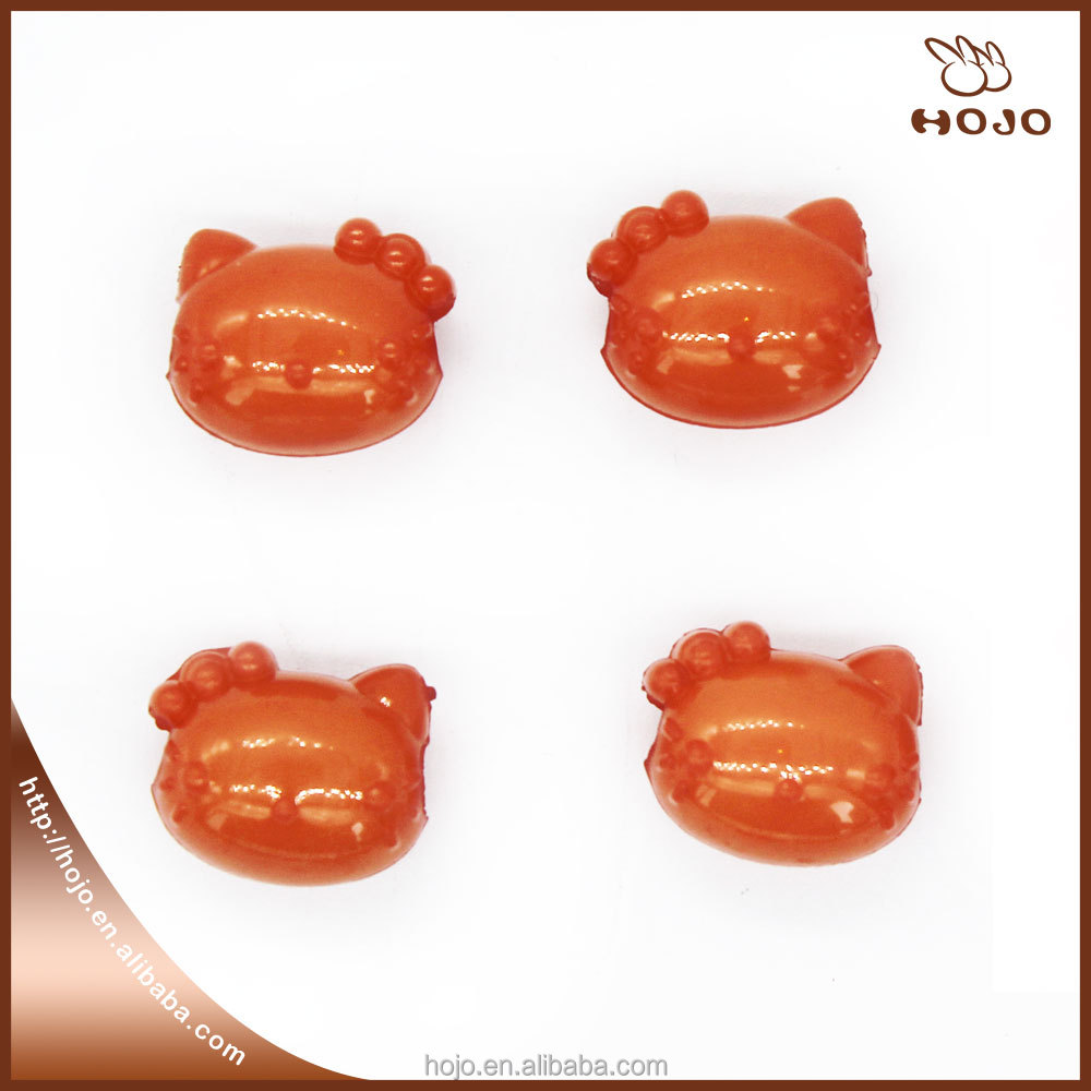 Hello Kitty Plastic beads for kids DIY string of beads Orange 14x11mm 16pcs