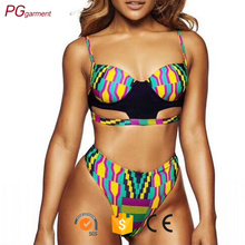 New sexy woman halter neck design beachwear hollow out floral printing women swimwear