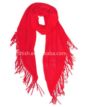 girls winter fashion red knitted scarfs