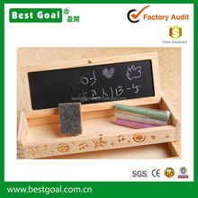 Wooden pencil box pencil case with blackboard & drawer