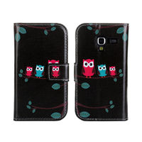 Black Cartoon Owl Side Flip Stand Leather Case for Samsung Galaxy Ace 2 i8160