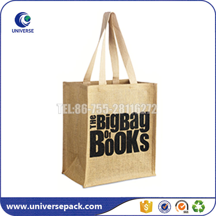 Screen Print Shopping Jute Fiber Recycle Hemp Tote Bag With Guesst