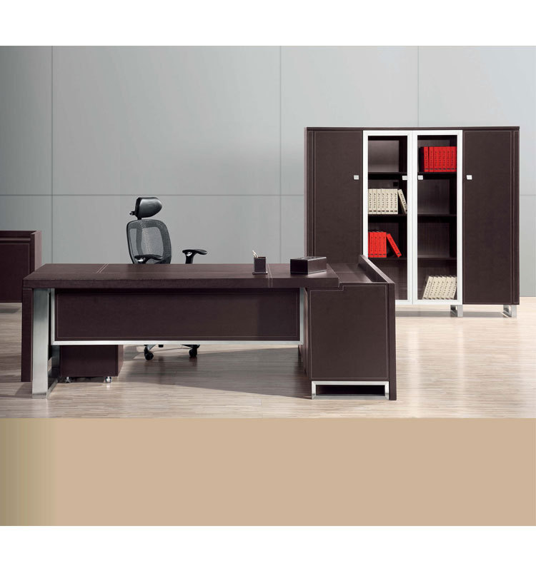 High Quality Dark Walnut Office Furniture Standing Modern Solid Wood Desk B