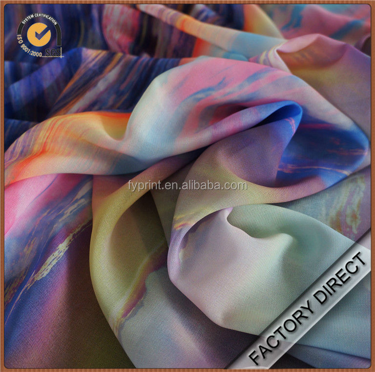 Custom digital print expensive poly chiffon fabric as designer pattern