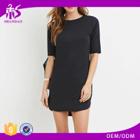 2017 Guangzhou Shandao Autumn Wholesale Lastest Fashion Sexy Short Sleeve Slim Fit Ladies Black Plain Dyed Rayon Design Dress