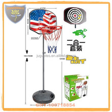 New coming basketball stands with soft bullet toy gun and daft for kids 2 in 1