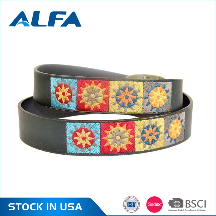 Alfa Wholesale Products Unisex Fashion Pure Split Leather Embroider Leather Belts