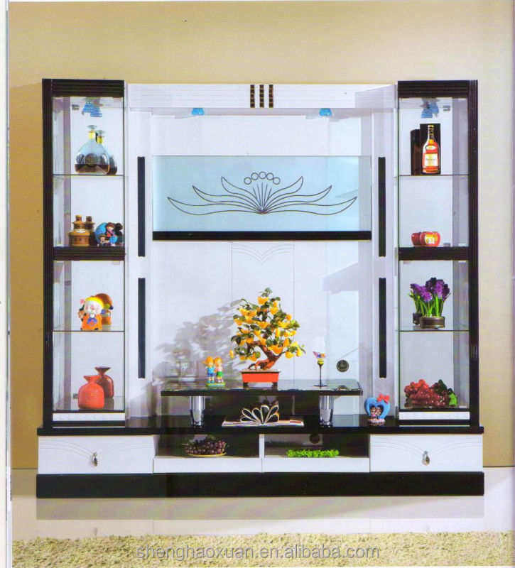 Living room cabinet wall units home furniture lcd tv wall for Latest lcd wall unit designs