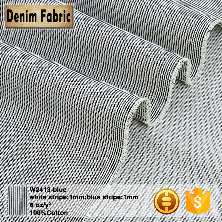 w2413 cheap price no stretch blue stripe denim cotton fabric