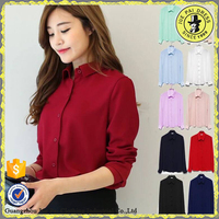 Hot sale top women shirt latest sytle office uniform for ladies long sleeve ladeis shirt