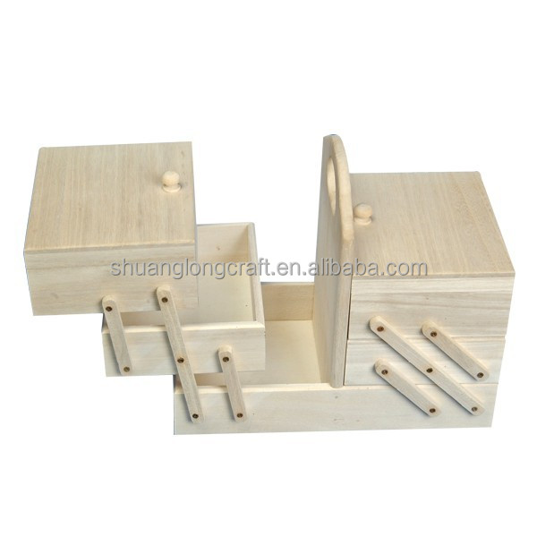 Girls unfinished cheap folding wooden sewing box for sale