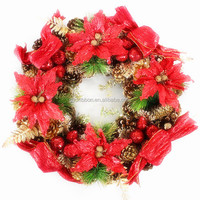Red Flowers AND Gifts Decoratived 7ft Christmas Garland outdoor hanging decoration