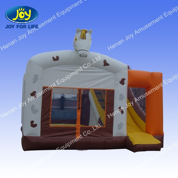 PVC party bounce and slide, bouncy castle with slide, Horse Bouncy Castle and Slide