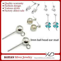 XD P015 925 Sterling Sliver Ball Head Ear Stud with Open Ring
