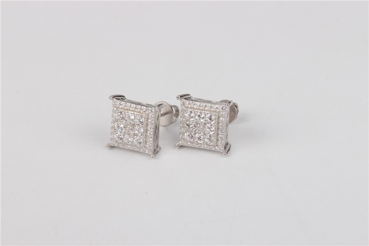 2016 American fashion AAA CZ 925 silver rhodium plated iced out stud earrings