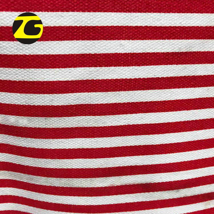 Good texture factory price waterproof red white stripe printed <strong>poly</strong> cotton canvas fabric to make bags