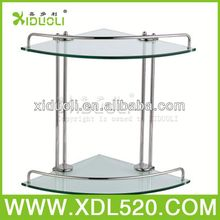 wall mount racks/bathroom two tier glass shelf/shelf glass