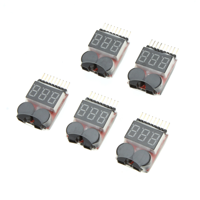 5Pcs 1-8S Indicator RC Li-ion Lipo Battery Tester Low Voltage Buzzer Alarm RC Tools