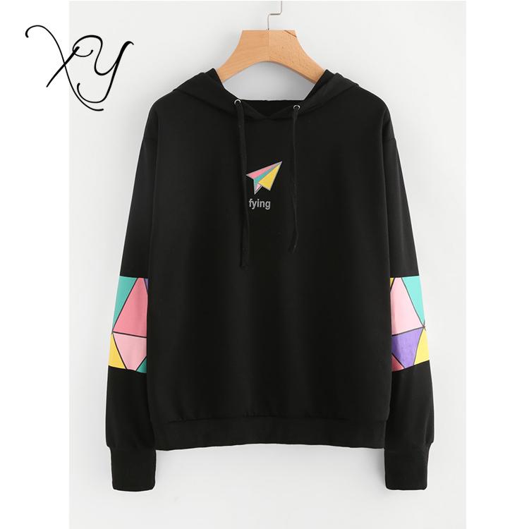 2018 지오 인쇄 화려한 소매 후드 스웨터